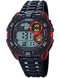 Calypso Herrenarmbanduhr Quarzuhr Kunststoffuhr mit Polyurethanband schwarz/rot digital K5670/5
