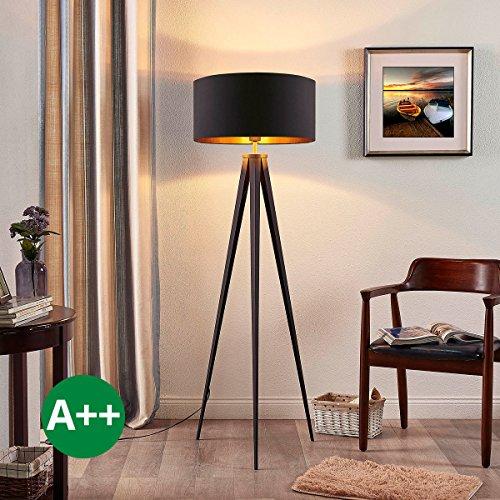Dreibeinige Stehlampe Benik (Modern) in Schwarz aus Textil u.a. für Wohnzimmer & Esszimmer (1 flammig, E27, A++) von Lampenwelt | Stehleuchte, Wohnzimmerlampe
