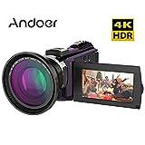 Andoer: videocámara grabadora digital 4K, 1080 P, 48MP, wifi, con chip Novatek Master 96660, pantalla táctil capacitiva, 3pulgadas, visión nocturna infrarroja, Zoom 16x, adaptador de zapata fría para luz o micrófono externos
