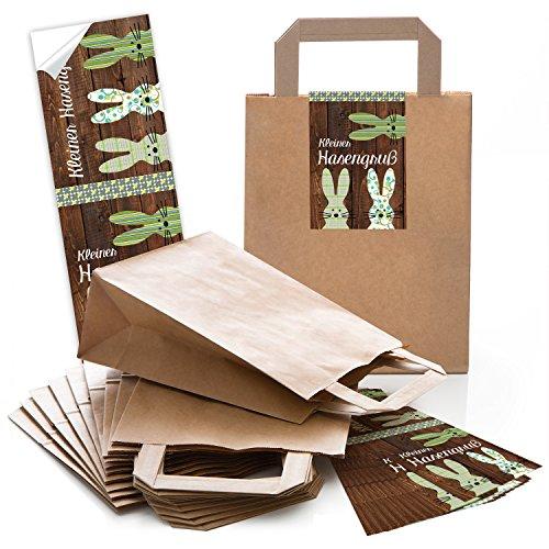 50 braune Papiertüten Papier-Tragetaschen Henkel-Tüten, Geschenktüten (18 x 8 x 22 cm) kleine Papiertaschen und 50 lange Oster-Aufkleber 7,2 x 21 cm in grün braun