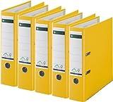 5er Sparpack Leitz 1010 Qualitäts-Ordner Plastik breit, mit patentierter 180º-Präzisionsmechanik (gelb)
