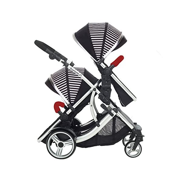 Kids Kargo Duellette Combi Tandem Double Twin pushchair (Oxford Stripe) for Newborn Twins Kids Kargo Fully safety tested Compatible with car seats; Kids Kargo, Britax Baby safe or Maxi Cosi adaptors. Versatile. Suitable for Newborn Twins:  carrycots have mattress and soft lining, which zip off. Remove lining and lid. 6