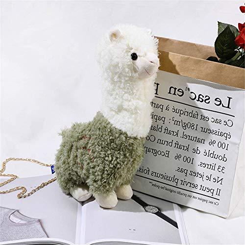 Lidoudou Nette Mädchen kleine Tasche Herbst und Winter Neue Kette Plüsch Alpaka Schulter Messenger Bag grün 26cmX36cm Material Wolle -