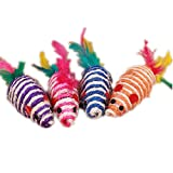 Fully 2X Katzenspielzeug Quietschspielzeug Kratzspielzeug Katzenmaus Sisal Maus Feder Kausspielzeug Kratzmaus Hunde 9cm (Farbe zufällig)