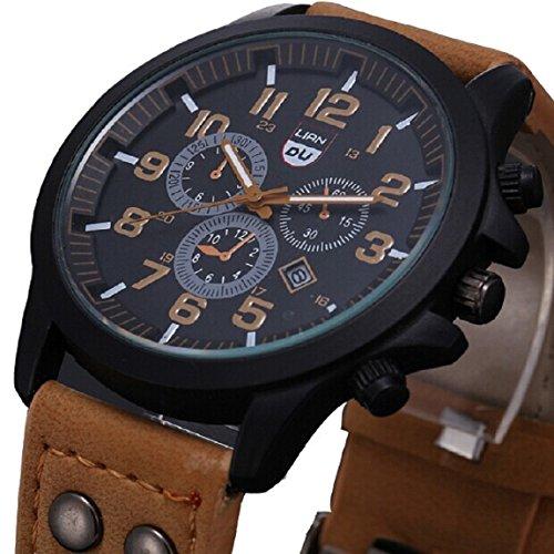 Franterd® Uhren, Unisex Männer Frauen wasserdichte Armbanduhr elegant Uhr Zeitloses Design Classic Leather römischen Ziffern Leder analoge Quarz-Armbanduhr Braun