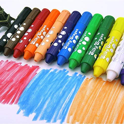 Warooma 12 Farben ungiftig seidige Buntstifte, waschbare rotierende Wachsmalstifte, Körperfarbe, groß, wasserlöslich, mischbar, Graffiti, sicher für Baby, Kinder und Kinder