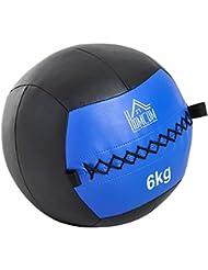 eefc2714158a2 HOMCOM Balón Medicinal de Crossfit 6Kg con Asas Tipo Pelota de Ejercicios  de Cuero y PU