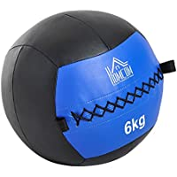 HOMCOM Balón Medicinal de Crossfit 6Kg con Asas Tipo Pelota de Ejercicios de Cuero y PU Ф35cm
