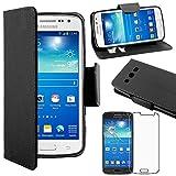 ebestStar [Kompatibel Samsung Galaxy Core 4G Hülle [SM-G386F: 132.9 x66.3 x9.8mm, 4.5''] Kunstleder Wallet Case Handyhülle [PU Leder], Kartenfächern, Standfunktion, Schwarz + Panzerglas Schutzfolie