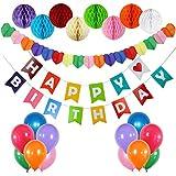 Syhonic Geburtstagsdeko Geburtstag Dekoration Kindergeburtstag Deko, 1 Happy Birthday Banner +1 Sternegirlande+ EIN Set mit 8 Wabenbälle + 12 Große Geperlte Ballo, Bunt Geburtstagsparty Dekoration