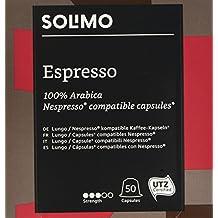 Marca Amazon- Solimo Cápsulas Espresso, compatibles con Nespresso*- café certificado UTZ, 100 cápsulas (2 x 50)