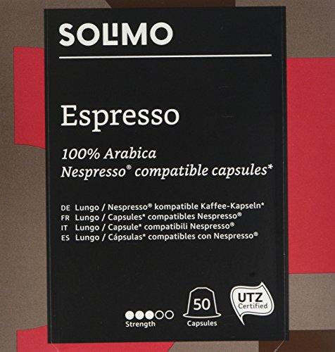 Marca Amazon- Solimo Cápsulas Espresso, compatibles con Nespresso*- c