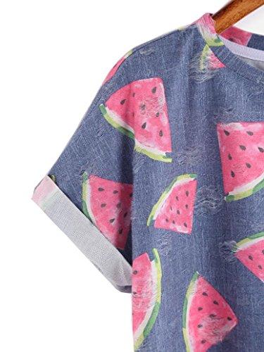 WOCACHI Damen Sommer T-Shirts Frauen nette Wassermelone gedrucktes kurzes Hülse O-Ansatz T-Shirt Bluse Tops Blau Blau