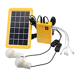 KUNSE 3W Solar Power System Solar Panel Charging Generator Power Generation System with 2 Bulbs