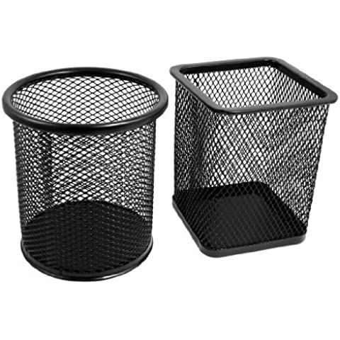 Water & Wood 2 Pcs Mesh Rectangle Cylinder Stationery Holder Box Container Black
