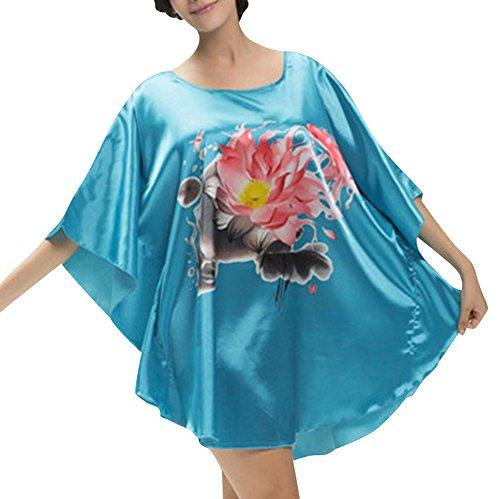 Raso Pigiameria delle Donne Camicia da Notte Indumenti Raso Lingerie Lago Blu