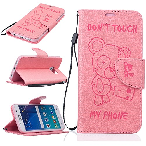 Price comparison product image BONROY® Magnetic Flip Cover for Samsung Galaxy S7,Cute Funny Little Bear Embossing Wallet Case with Hand Strap for Samsung Galaxy S7, Premium PU Leather Folio Style Retro PU Leather Wallet Flip with Card Slots and and Stand Function Case Cover for Samsung Galaxy S7