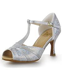 3aec7cea1a JIA JIA Y20524 Latin Women's Sandals 2.7'' Flared Heel Super Satin with Sparkling  Glitter