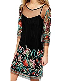 Vestido de mujer, Amlaiworld Mini vestido de fiesta floral Mujer Primavera verano Sexy Boho Vendimia
