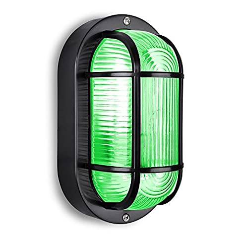 Modern Black Outdoor Garden Security Bulkhead Green LED Wall Light - IP44 Rated - Complete With 1 x LED Golfball Bulb