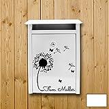 ilka parey wandtattoo-welt® Wandtattoo Briefkastenaufkleber Aufkleber Sticker Blume Pusteblume mit Familiennamen Wunschnamen M1877 ausgewählte Farbe: *weiß* ausgewählte Größe: *S - 25cm breit x 28cm hoch*
