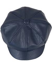 Bigood Béret Octogonale Adulte Enfant Faux Cuir Chapeau Casquette Chaud Vintage