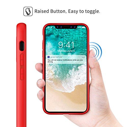 MoKo iPhone X Coque - [Résistant Aux Rayures] [Anti goutte & rayure] Etui Housse en TPU pour Apple iPhone X / iPhone 10 (2017) SmartPhone (support le chargement sans fil), Noir Rouge