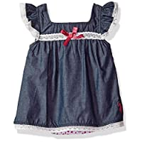U.S. Polo Assn. Baby Girl's Casual Dress Dress, woven with pink bow fuchsia, 3-6 Months