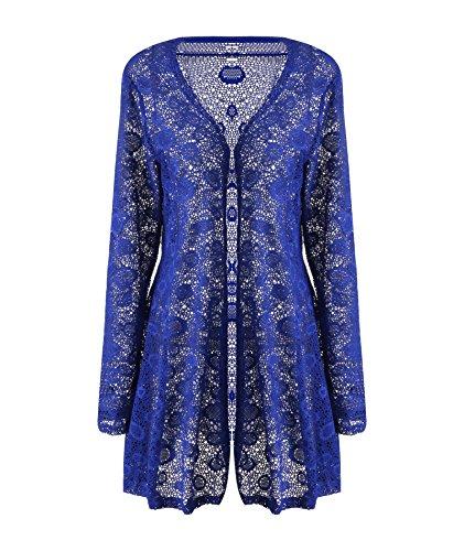 CROVOG Mode Chic Cardigan Dentelle/Veste Longue Crochet Manteau Pull Longue Femme Grande Taille Plage Femme Eté Bleu foncé