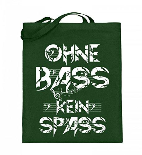 Hochwertiger Jutebeutel (mit langen Henkeln) - OHNE BASS KEIN SPASS Green