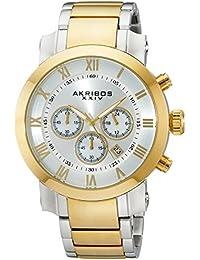 Akribos XXIV Reloj Barroco pulsera de acero inoxidable de cuarzo cronógrafo para hombre