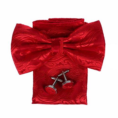 DBC3B01 Multi Patterned Microfiber Pre-tied Bow Tie Hanky Cufflinks By Dan Smith