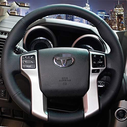 KDKDKLMB Lenkradabdeckung Handgenähte Schwarze Lederlenkradabdeckung für den Toyota Land Cruiser Prado 2010-2014 Tundra Tacoma 4Runner-Roter Faden