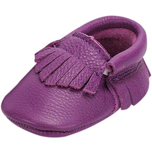Fire Frog  Baby Genuine Leather Shoes, Baby Mädchen Lauflernschuhe Violett
