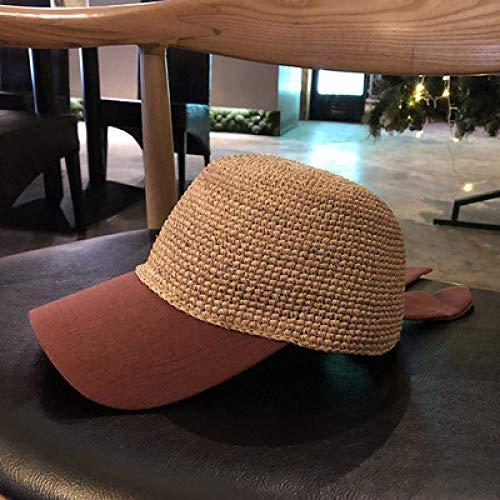 mlpnko Kappe Stoff nähen Baseball Hut Handarbeit häkeln Urlaub Hut Reisen Wilden Strohhut weibliche Rost Pulver M (56-58cm) (Weiblich Rost Kostüm)