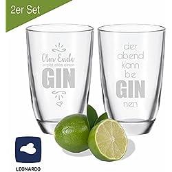 """2er SET Leonardo GIN-Gläser """"der Abend kann be GIN nen"""" & """"Am Ende ergibt alles einen GIN"""" - Geschenkidee - für gute Freunde - für Partner - Weihnachtsgeschenk"""
