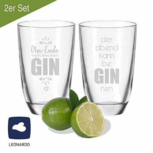 2er SET Leonardo GIN-Gläser der Abend kann be GIN nen & Am Ende ergibt alles einen GIN - Geschenkidee - für gute Freunde - für Partner - Weihnachtsgeschenk