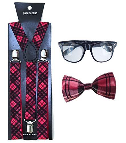 Islander Fashions Womens School Girl Kost�m Rosa Tartan Fliege Hosentr�ger Schwarze Brille 3-teiliges Set (BR6150 + WA1123 + U09558)