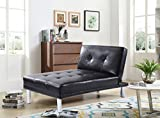 WestWood Modern Luxury Chaise Longue Single Sofa Bed 1 Seater Couch Small Guest Sleeper Convertible Chair Faux Leather Living Room Furniture PSB03 Black