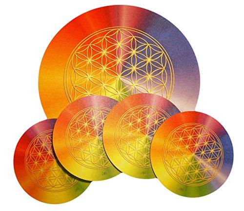 atalantes spirit - Blume des Lebens-Untersetzer-SET 1 + 4 Stück - für Karaffen & Gläser - Motiv: rainbow - zwei Größen: 19 cm + 9,5 cm