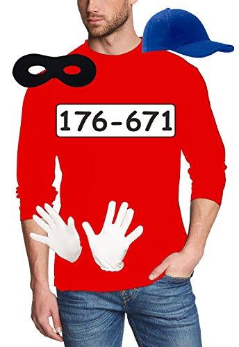 SET GANGSTER BANDE KOSTÜM - FASCHING - KARNEVAL - LANGARM T-SHIRT, MÜTZE, MASKE + HANDSCHUHE - rot Gr.2XL (Rot Feuerwehrmann Kostüm Frauen)