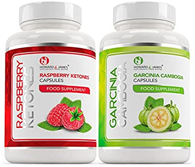RASPBERRY KETONES 1000mg x60 + GARCINIA CAMBOGIA x60 - SPECIAL OFFER | Max Strength Fat Burners and Garcinia Cambogia Whole Fruit Capsules - Slimming Diet Pills | Suppress Appetite, Boost Metabolism and Block Fat Production for Weight Loss - SPECIAL PROMO