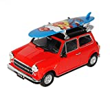 alles-meine.de GmbH Mini Cooper Ur Modell Rot Schwarz mit Surfbrett 1959-2000 1/24 Welly Modell Auto mit individiuellem Wunschkennzeichen