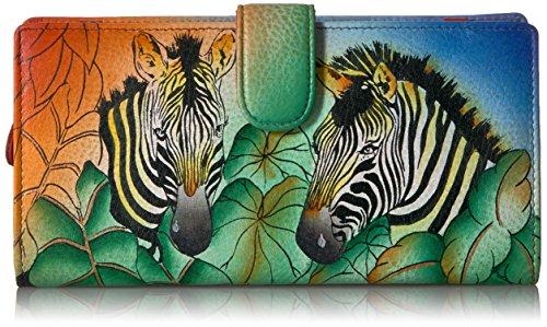 Anna by Anuschka Damen Geldbörse Rfid Blocking bi-fold mit Riemen, Zebra-Safari Leder Animal-print