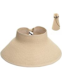 f9f34d31 Maylisacc Ladies Wide Brim Straw Sun Visor Hat Foldable Summer Topless  Sunhats Womens