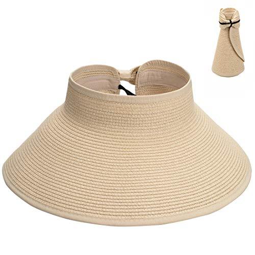 Maylisacc Wide Brim Visoren Hut Stroh Brathable Elegant Visor Cap Bowknot für Damen