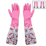#6: HOKIPO® Reusable PVC Flocklined Kitchen Gloves, Free Size, Elbow Length, 2 Pair
