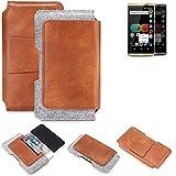 K-S-Trade® Für Allview P8 EMagic Gürteltasche Schutz Hülle Gürtel Tasche Schutzhülle Handy Smartphone Tasche Handyhülle PU + Filz, Braun (1x)