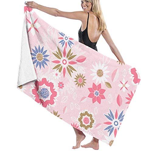 FSTGFQW Übergroße Strandtücher, Damen-Badetuch - rosa Blumen, Reise-Waffel, Spa-Strandtuch, für Mädchen, 78,7 x 129,5 cm -