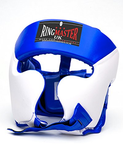 RingMasterUK Cajas de protección de Piel sintética Color Blanco/Azul, Hombre Mujer, Blanco y Azul